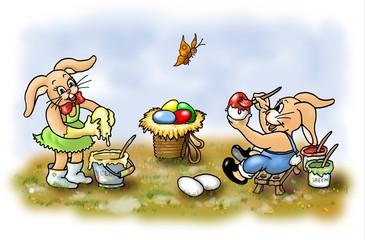 osterhasen beim eier färben