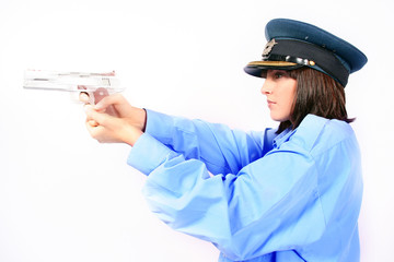 fonny cop or police woman with a silver gun