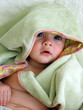 baby with blanket on head