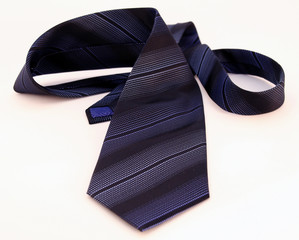 navy blue business tie on white background