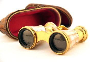 isolated antique gold binoculars with case