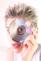 woman and cd