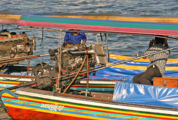 long tail boats, chao praya river, bangkok