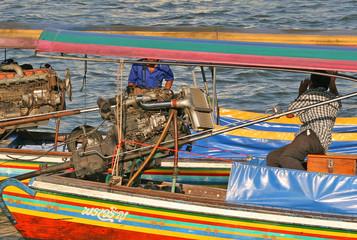 long tail boats, chao praya river, bangkok