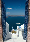 welcome in santorini poster