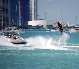 wake boarding on biscayne bay