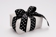 small gift with polka dots ribbon