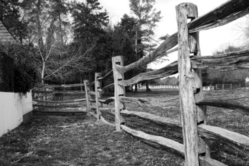 wooden fence and field
