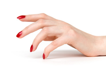 woman hand with red nails side view