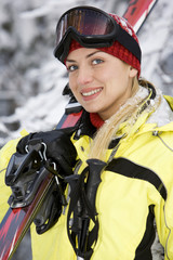 smiling girl after skiing