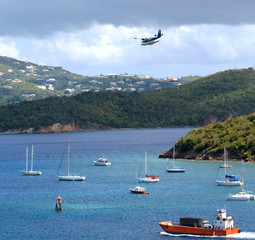 st. thomas harbor sailboats and seaplane