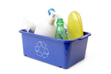 blue plastic disposal container poster