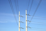 two white electricity pylons and stretching wires poster