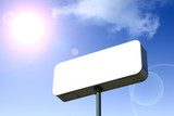 white billboard, blue sky behind. outlined with clipping path. poster