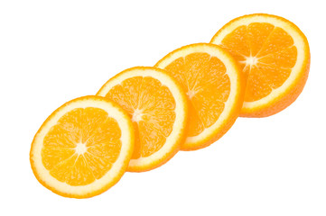 four slices of orange in diagonal row