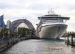 cruise ship and sydney harbor bridge