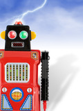 invading red tin toy robot! poster