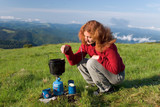 hiker girl making a coffee poster