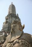 chinese guard statue at wat arun, bangkok thailand poster