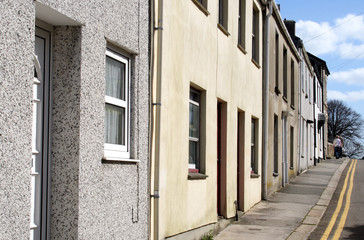 a row of old houses in a cornish town.