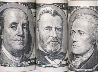 triplet of banknote portraits