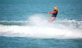 blond lady wake boarder poster