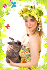 spring girl with a bunny