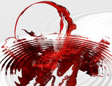 red fractal with water ripples