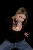 sexy blond with semi-automatic handgun poster