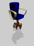 office armchair with reflection. the 3d image. poster