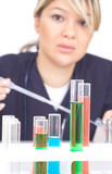 doctor with test tubes poster