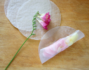 spring roll with freesia, camellia and daffodil