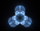 blue shining 3d flower poster