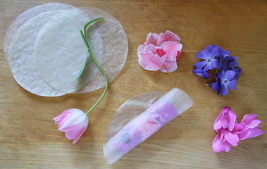 spring roll with camellia, cyclamen, periwinkle an