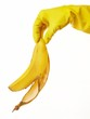 hand in yellow rubber glove with a banana peel