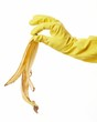 hand in yellow rubber glove with a banana peel 3
