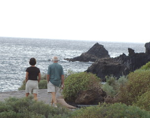 mature adults walking along the coast