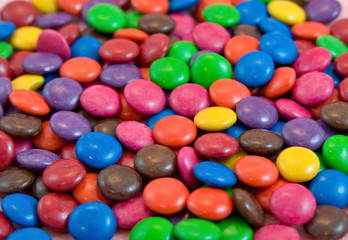 background pile of smarties chocolates