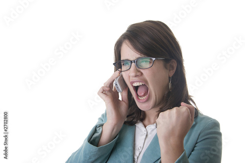 secretary or business woman shouting of happines saying yes like