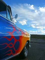 Blue American Hotrod With Flames