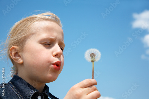 girl blows on dandelion