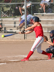 softball hitter makes contact!