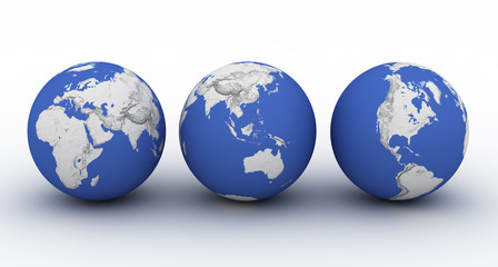three planet earth on white