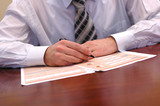 businessman doing paperwork poster