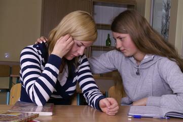 comforting a classmate