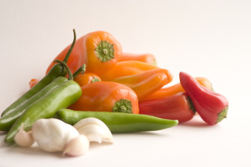 fresh bell peppers, hot chillies and garlic
