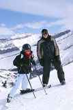 Fototapety skiing in mountains