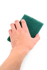 hand holding green scrubber