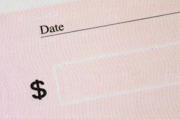 empty cheque. closeup.