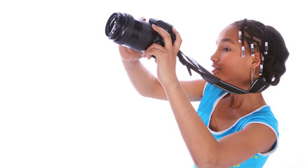 african american girl taking picture close up
